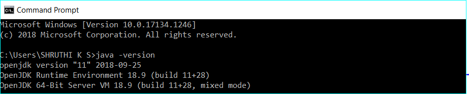 Verify the installed OpenJDK 11 version on windows