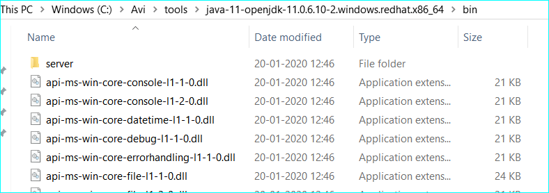 Extract Red Hat OpenJDK 11 on windows
