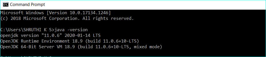 Verify the installed Red Hat OpenJDK 11 version on windows