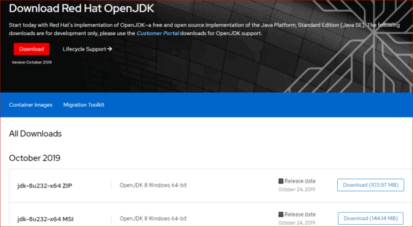 Download Read Hat openjdk 8 MSI / ZIP