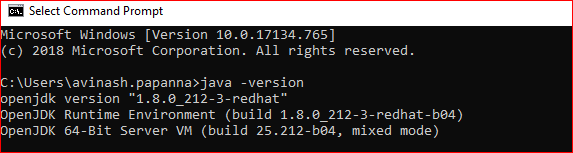 Verify the installed Red Hat openjdk 8 version on windows