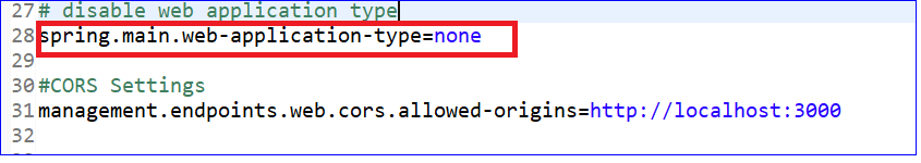 For non web application, disable web application type in properties file: